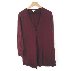 J.Jill Maroon Tunic Length Sweater Cardigan